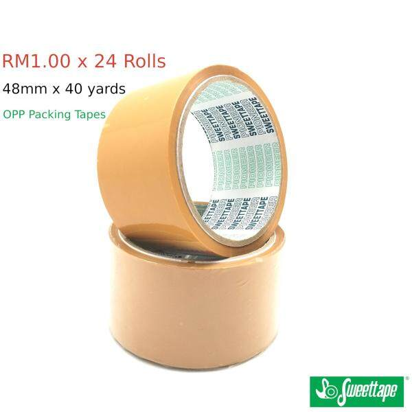 24 Rolls 40μ Clear /Brown OPP Tapes 48mm x 40yards