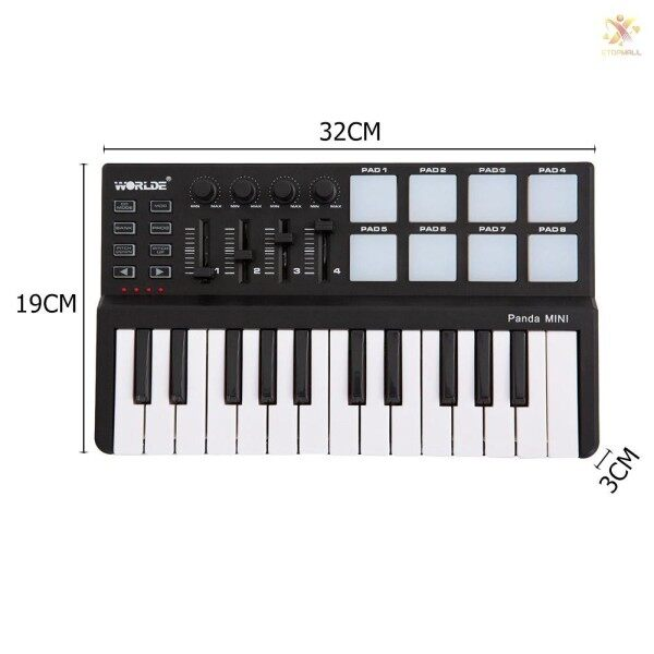 Ready Stock Worlde Panda mini Portable Mini 25-Key USB Keyboard and Drum Pad MIDI Controller Malaysia