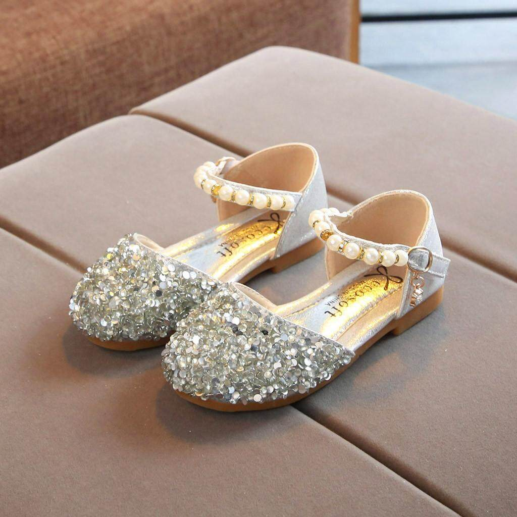 Myapple Toddler Infant Kids Baby Girls Pearl Bling Sequins Single Princess Shoes Sandals By Myapple.