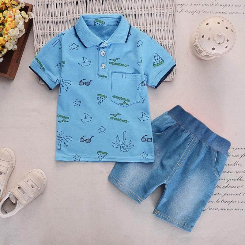130dada21ea5 Summer Baby Boy Adorable Leaves Glasses Printed Short Sleeve Shirt Set