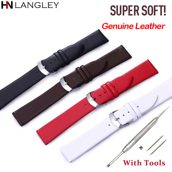 LANGLEY Watch Band Replacement Watch Straps Ultra Soft Genuine Leather Watchband Accessories Men Women Universal Strap 8/10/12/13/14/15/16/17/18/19/20/21/22mm Width Malaysia