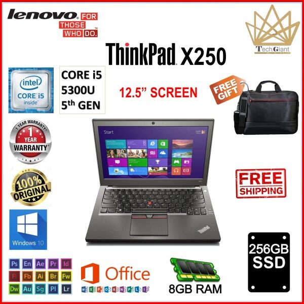 LENOVO ThinkPad X250 CORE i5- 5300U (5th GEN)  12.5 HD / 8GB RAM / 256GB SSD / 12.5 inch SCREEN / 1 YEAR WARRANTY / WINDOWS 10 PRO  / REFURBISHED Malaysia