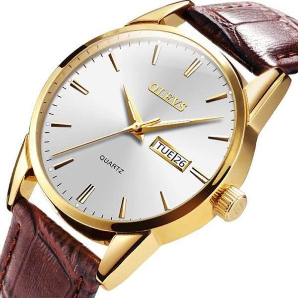 Olevs Watch For Men Leather Strap Waterproof Luminous Double Calendar Quartz Watch Fashion Casual Watch Business Watch 6898 Malaysia