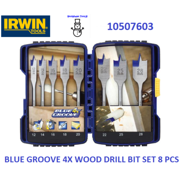 IRWIN BLUE GROOVE 4X WOOD DRILL BIT SET 8 PCS 10507603 1/4 SHANK WOOD BITS 12MM 14MM 16MM 18MM 20MM 22MM 25MM 28MM