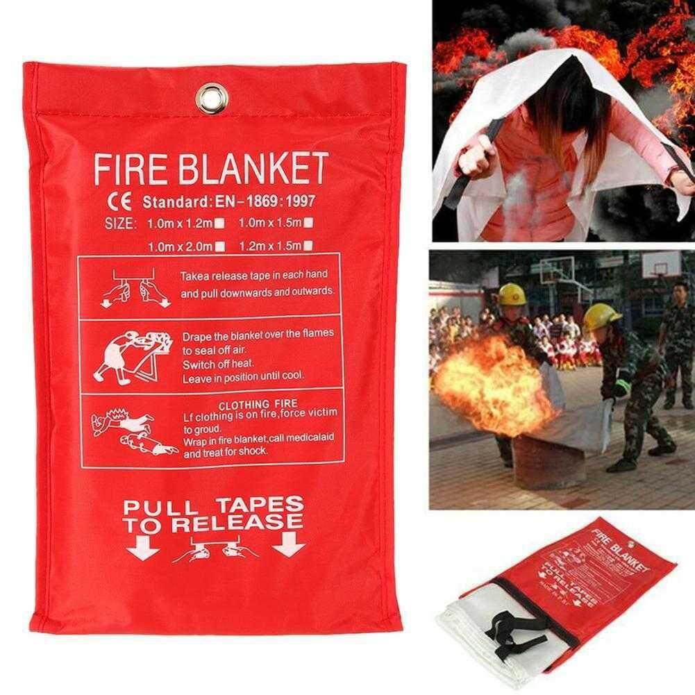 【YinYuan Home】Emergency Fire Blanket Fire Extinguisher Fireproof Protection 1MX1M