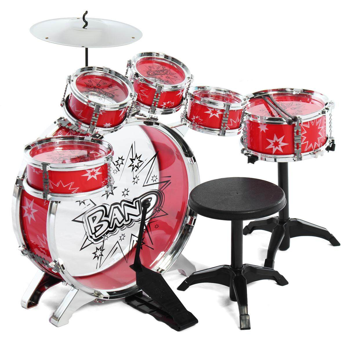 Trẻ Em Trẻ Em Bộ Trống Trống Bộ Trống Bộ Gõ Nhạc Cụ Với Dùi Trống Cymbal Phân Có Thể Điều Chỉnh