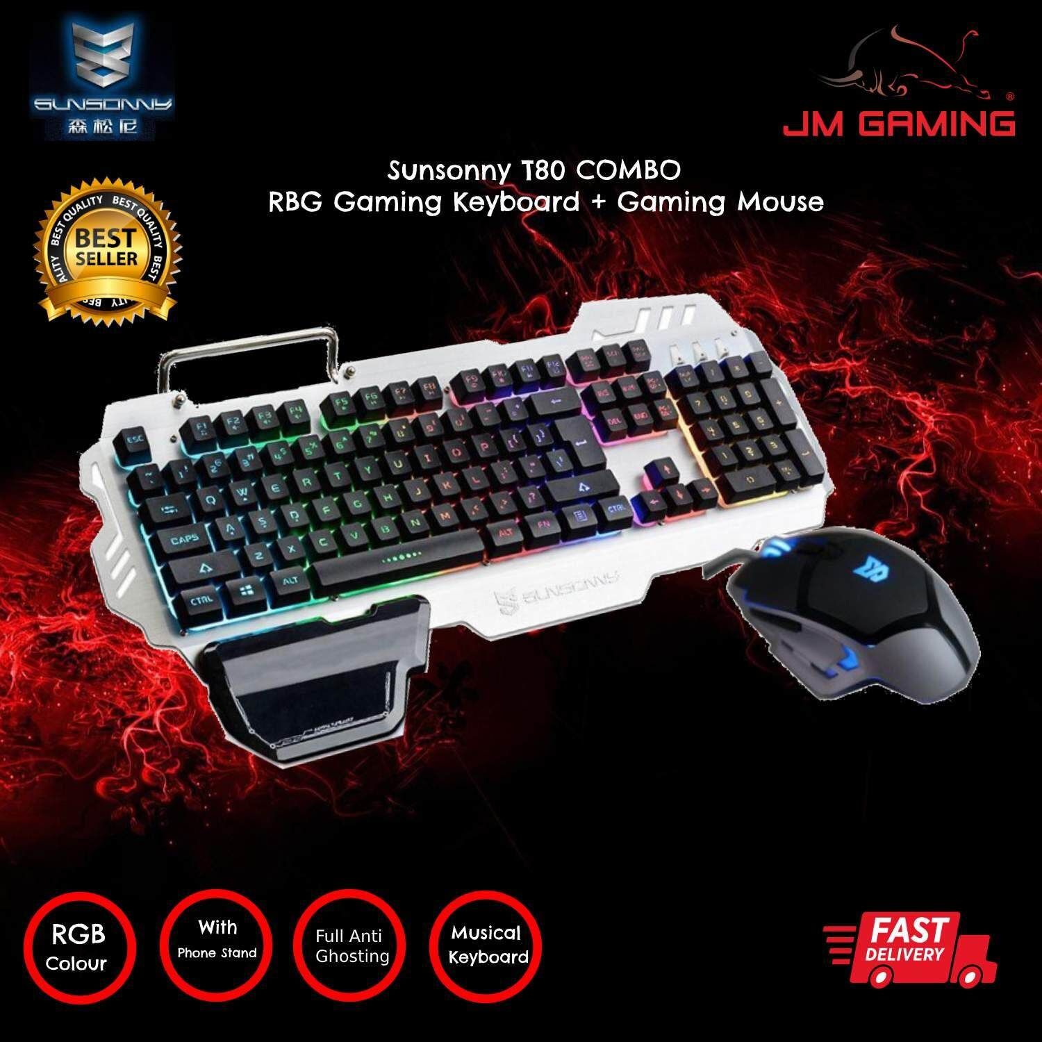 SUNSONNY COMBO T80 (K10 RGB MEMBRANE MUSIC GAMING KEYBOARD + GAMING MOUSE) with phone stand and hand wrist for Computer / PC Malaysia