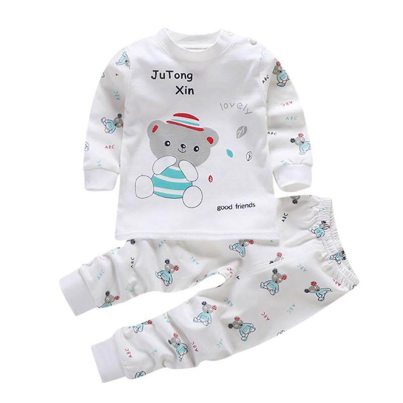 Boys Girls Long Sleeve Cartoon Tops+Pants Pajamas Sleepwear Toddler Baby Outfit