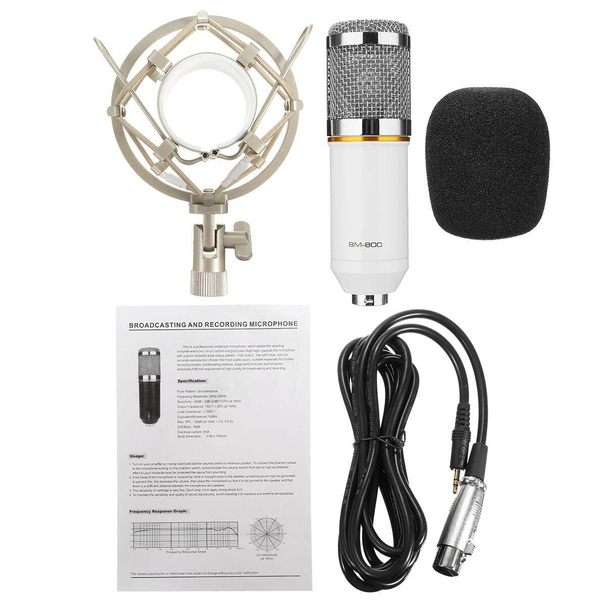 Blue / Silver / Pink / White -- Professional Condenser Microphone Kit Complete Set for Studio Recording BM-800