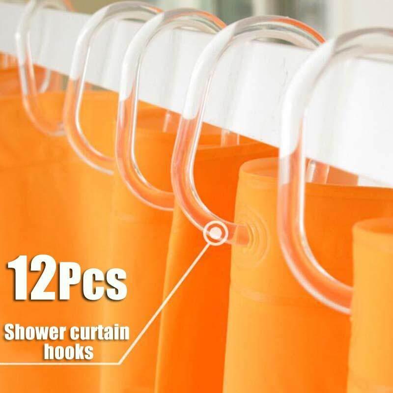 【Free Vận Chuyển + Đèn Flash Đối Phó 】Shower Móc Màn 12 Piece Nhựa Treo Nhà Tắm Nhẫn Biến Dạng