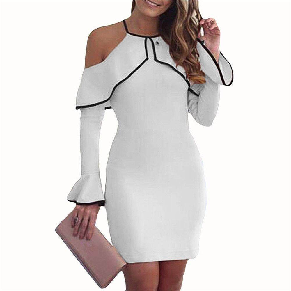 8540d8b07e9 MyAnswer Womens Off Shoulder Mini Dress Ladies Party Stretch Party Evening  Bodycon Dress Free shipping
