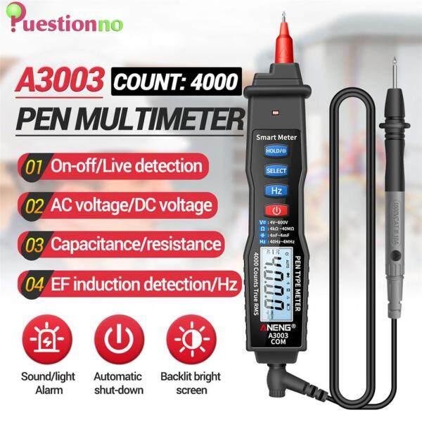 Pen Type Digital Multimeter 4000 Counts Manual Range Data Hold AC/DC Ammeter Voltmeter