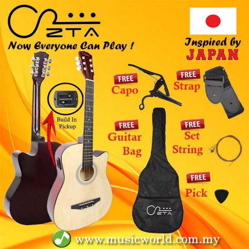 ZTA 38 Inch Acoustic Guitar Natural EQ Pickup Cutaway Starter Pack Folk Bundle Malaysia