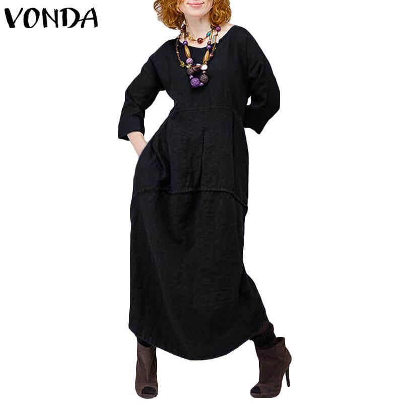 001b34d5405 VONDA Women Long Sleeve Shirt Blouse Dress Vintage Solid Loose Casual Abaya  Kaftan