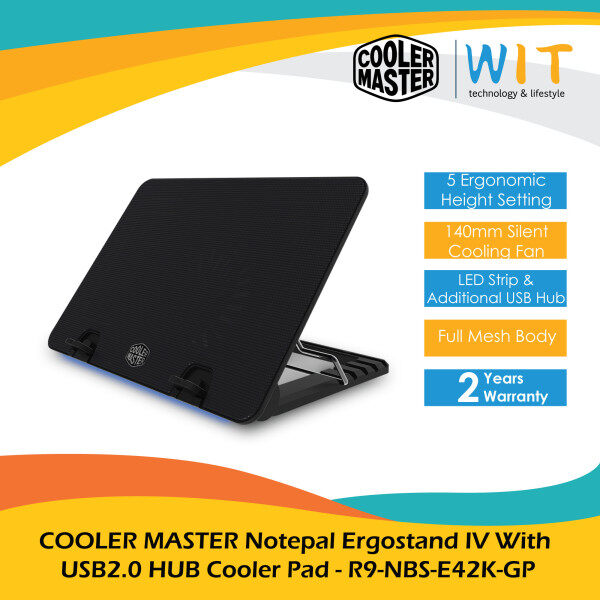 COOLER MASTER Notepal Ergostand IV With USB2.0 HUB Cooler Pad - R9-NBS-E42K-GP Malaysia