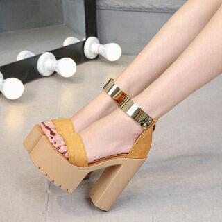 Hàng Mới Về tháng 8 năm 2020 phụ nữ hở mũi xu hướng thời trang Giày đế xuồng Giày cao gót Street Snap Giày cao gót vuông Zip thumbnail