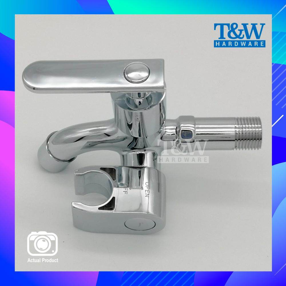 Chrome Two Way Water Tap Faucet Toilet for Bidet with Holder Handle