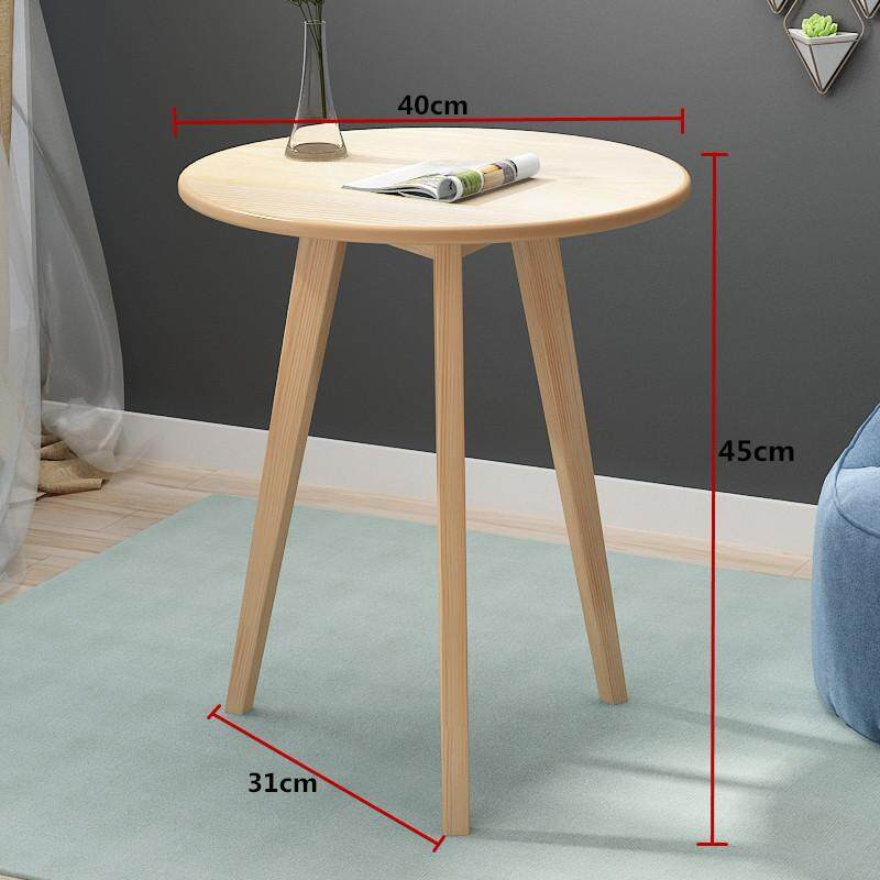 RuYiYu - 3 Wood Legs Coffee Table, Nordic ins Round End Side Table, Small Night Stand Table, Telephone Sofa Snack Table for Living Room Home and Bedroom