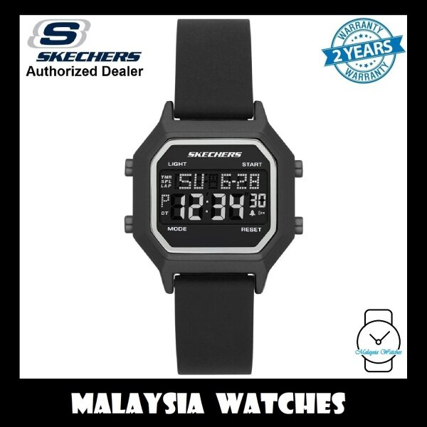 (OFFICIAL WARRANTY) Skechers SR6194 Faysmith Unisex / Women Retro Design Digital Black Silicone Strap Watch (2 Years Warranty) Malaysia