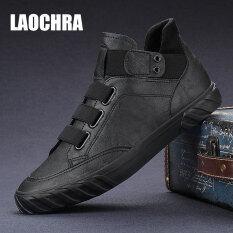 Bốt Da Thật laochra đến mắt cá chân cho nam, giày cao cổ thời trang đế bằng màu đen phong cách thời trang thường ngày