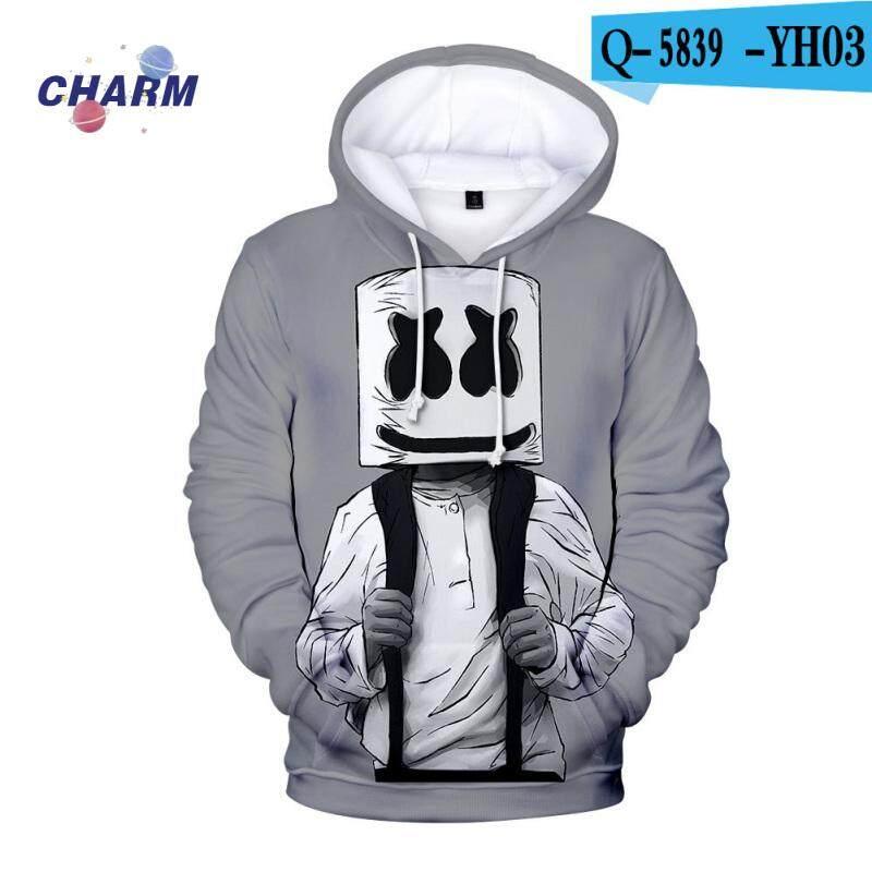 Fashion DJ Marshmello Smile Hoodie Casual Coat Hooded Jacket Loose Sweatshirt