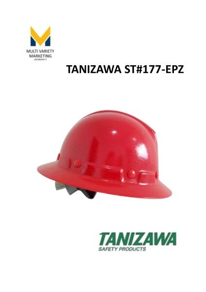 MVM - Tanizawa Japan Fiber Glass FRP Full Brim Safety Helmet (BOMBA Style) ST#177  Ready Stock White / Red Good Quality Easy Push Release Adjuster Buckle System 4 Point Chin Strap Impact Absorption Liner Lightweight and Heat Resistant With JIS standard