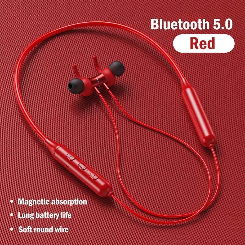 Ojor บลูทูธ 5.0 ชุดหูฟังแขวนคอโลหะแม่เหล็กไร้สายหูฟังกีฬาหูฟังบลูทูธหูฟังสากลสำหรับ Android สี สีแดง