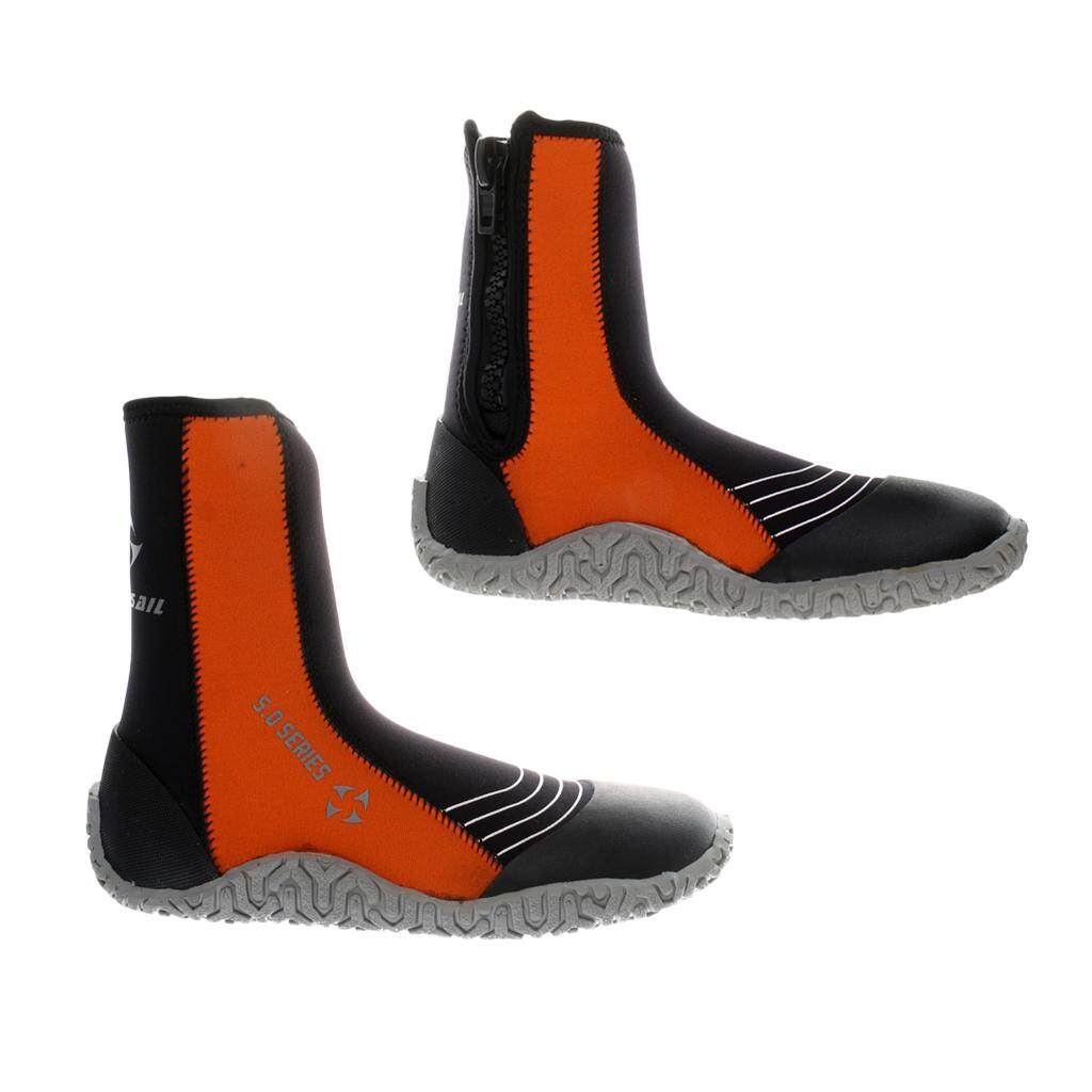 Flameer Anti-Slip Wetsuits Booties Premium Neoprene 5mm Hi Top Zipper Boot For Men Scuba Diving, Surfing, Water Sports By Flameer.