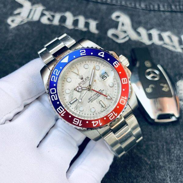 In stock Rolexs Mechanical Watches For Men Greenichs Metal Strap Blue Red 2020 New Malaysia