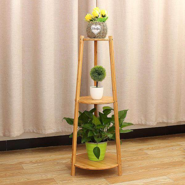 Plant Stand Planter Flower Pot Shelf Bamboo Wooden Indoor Outdoor Garden Display 2 Size