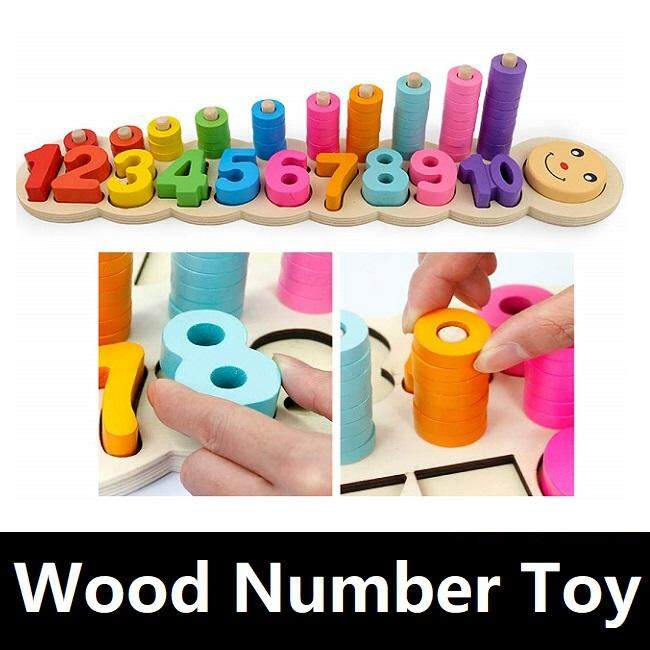 Kids Children Wooden Montessori Stacking Toy Geometric Numerical Matching Puzzle Caterpillar Toy