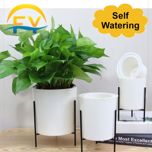 FY Self Watering Absorb Flower Plant Lazy Pot Iron Art Circular