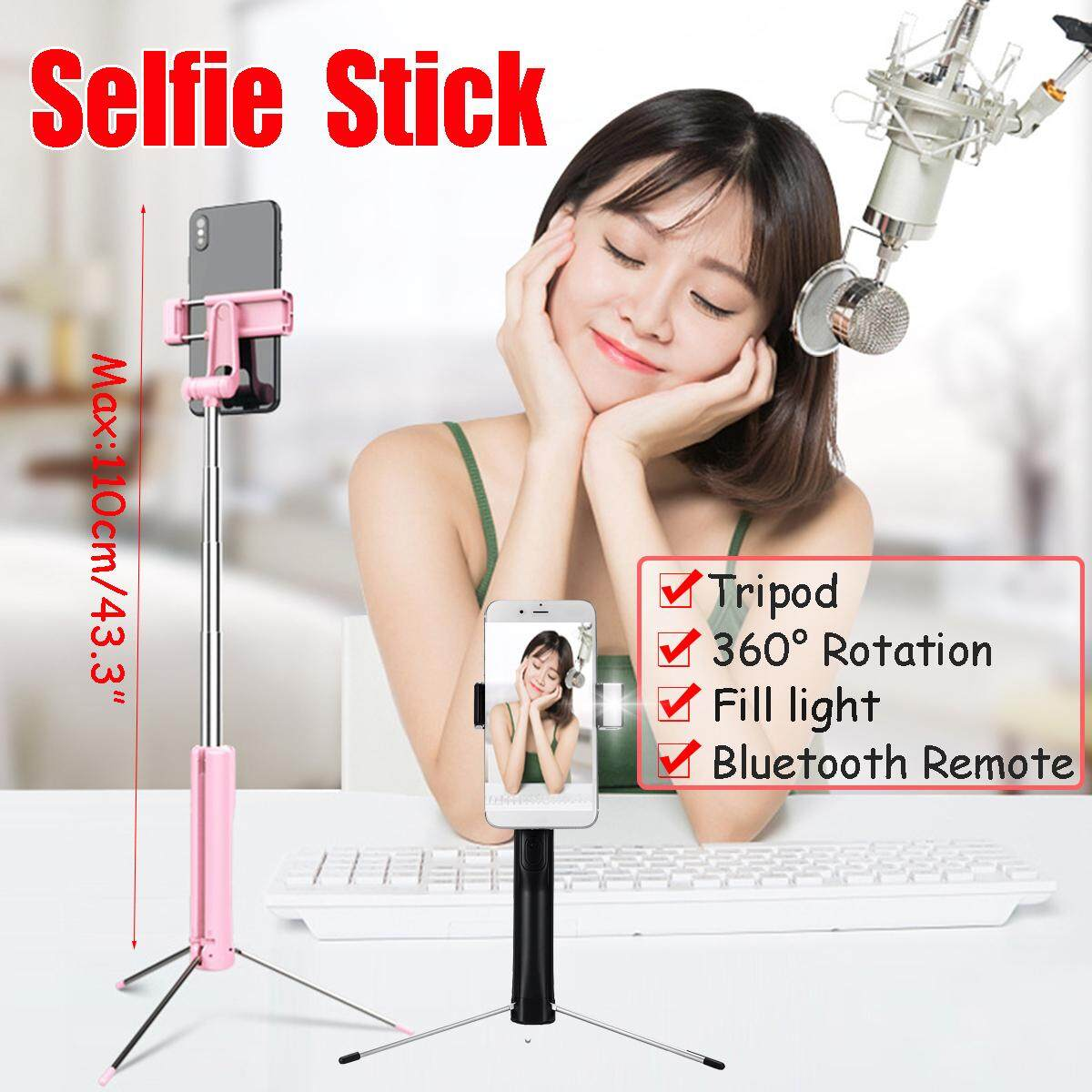 【Free Shipping + Flash Deal】110CM Bluetooth Selfie Stick Tripod Wireless Remote Shutter 360° iOS Android