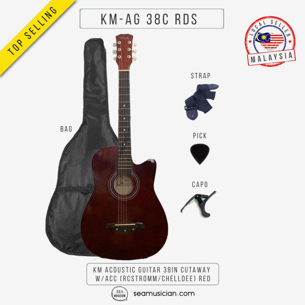 KM ACOUSTIC GUITAR 38IN CUTAWAY W/BAG AND ACCESSORIES COLOR RED BY RCSTROMM/CHELLDEE (38 INCH ACO GTR/ GITAR AKUSTIK/ SEAMUSICIAN) Malaysia