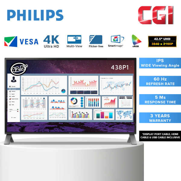Philips 42.5 438P1 5ms 4K Ultra HD LCD display with MultiView Monitor Malaysia