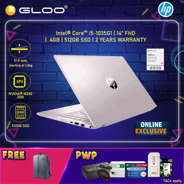 [ONLINE EXCLUSIVE] NEW HP Pavilion Laptop 14-ce3075TX / 14-ce3079TX 14 FHD (i5-1035G1, 512GB SSD, 8GB, NVIDIA MX250 2GB, W10) - Gold/Pink [FREE] HP Backpack + Pre-Installed Microsoft Office Home & Student (Grab/Touch & Go credit redemption : 1/8-31/10*) Malaysia