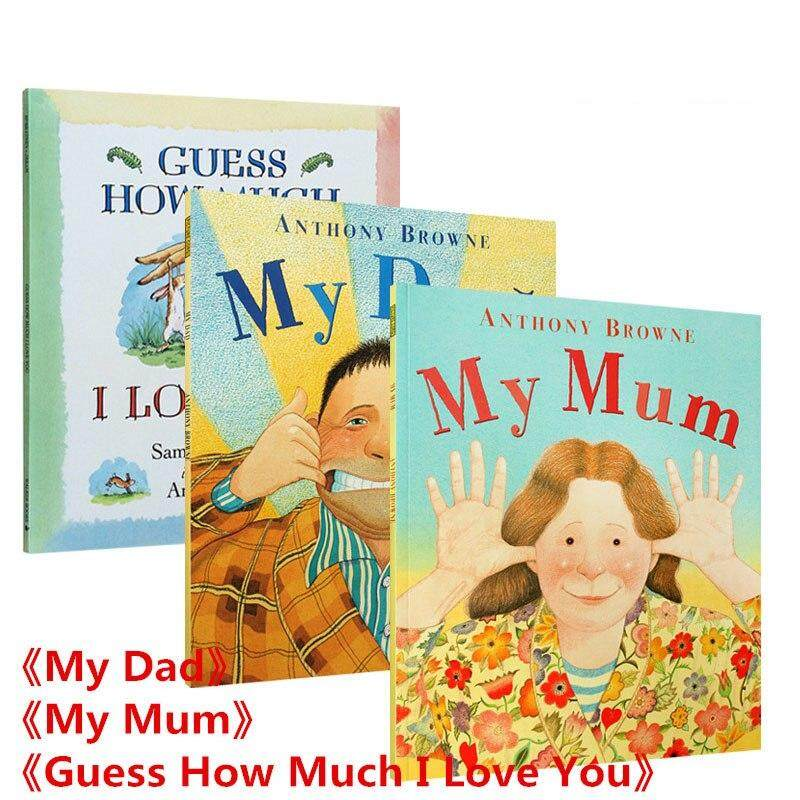 3 Sets My Dad & My Mum & Guess How Much I Love You Educational English Picture Book Learning Card Story Book For Kids Children