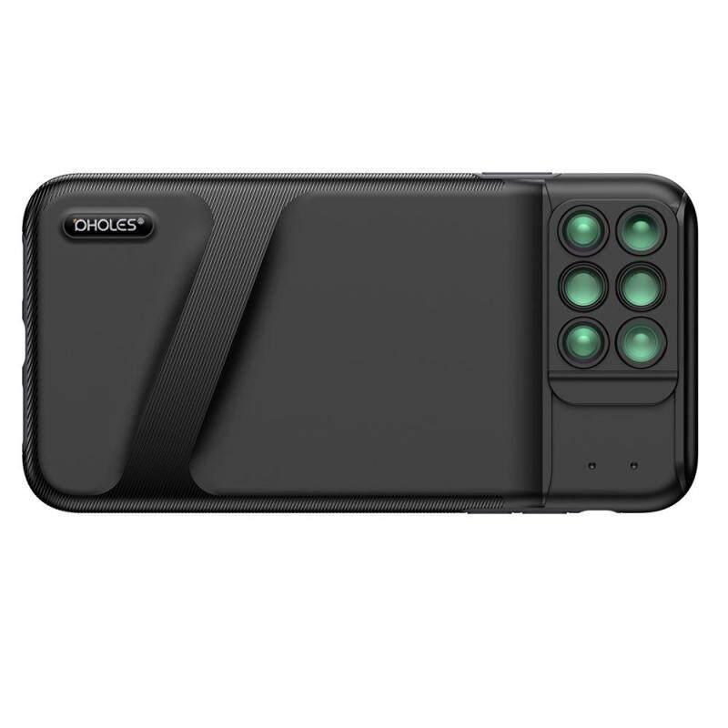 Pholes Dual Camera Ống Kính Ốp Lưng Điện Thoại Iphone XS Max 6 Trong 1 Mắt Cá Rộng Góc Ống Kính Kính Thiên Văn Zoom ống Kính Với TPU Bảo Vệ Điện Thoại