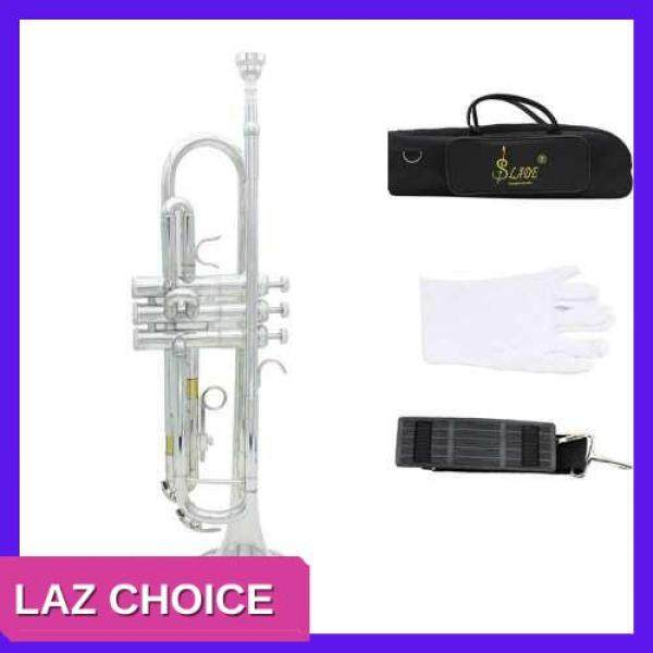 LAZ CHOICE Trumpet Bb B Flat Brass Exquisite with Mouthpiece Gloves (Silver) Malaysia