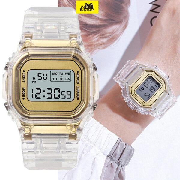 Nơi bán Đồng Hồ Vàng Sang Trọng Trong Suốt, Đồng Hồ Nữ Kỹ Thuật Số LED Điện Tử Cổ Tay Watch, Đồng Hồ Nữ Dạ Quang