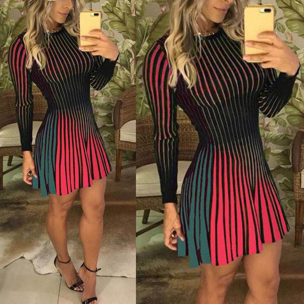 c2815eae8106b7 Auburyshop Women Long Sleeves Color Patchwork Striped Party Evening Club  Bodycon Mini Dress
