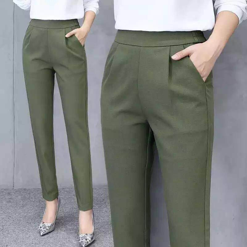 2059be24 Plus Size Women's Casual Fashion Solid Mid Waist Long Trousers Office Pants