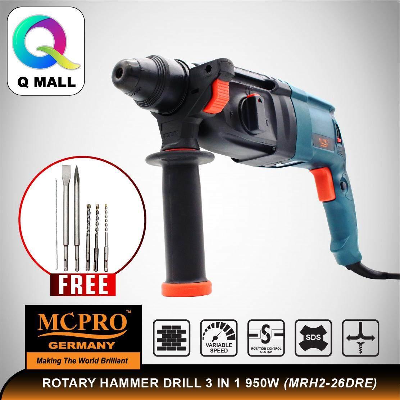 MCPRO MRH2-26DRE 3 In 1 Rotary Hammer 950W C/W 5pcs Drill Bit