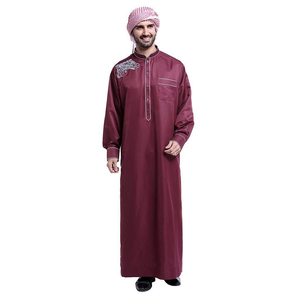 Supermall Muslim Arab Middle Eastern Men Robe Long Gown Fashion Clothes f6e1f2774