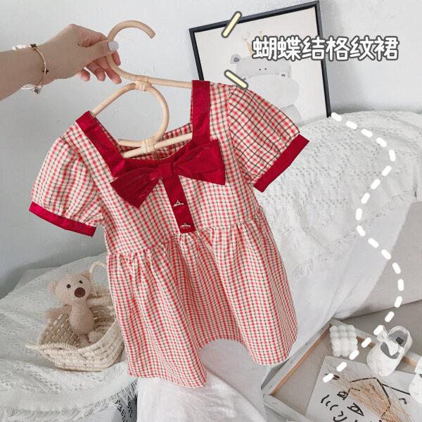 Giá bán Đầm Sọc Bé Gái Đầm Công Chúa Kẻ Sọc Thắt Nơ Phong Cách Quý Cô Hàn Quốc Mùa Hè 2021