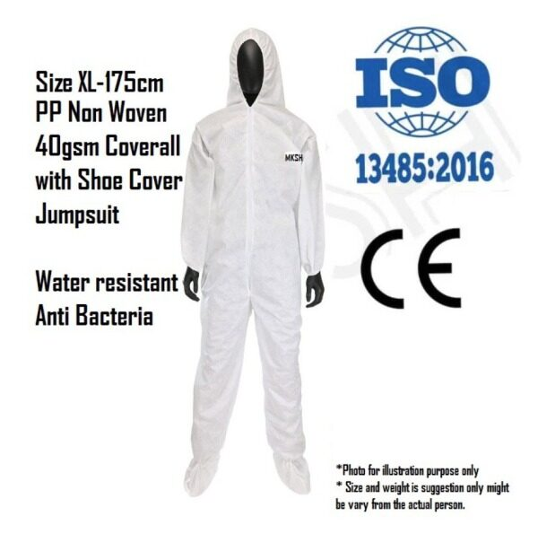 【Local Ready Stock】PPE Suit Coverall - Jump Suit- PP Non Woven 40gsm Head to Toe cover - Disposable Medical Protective Clothing White PPE