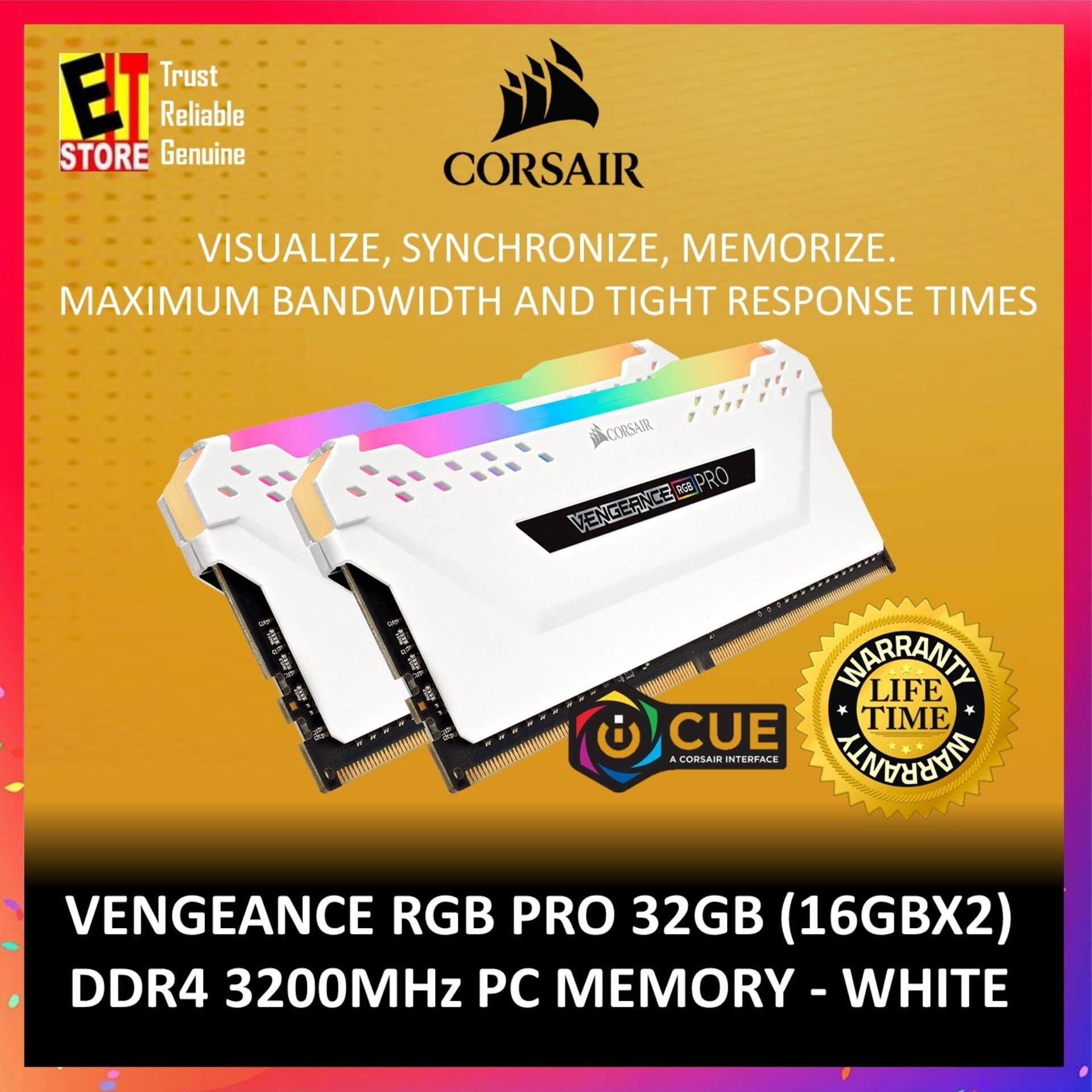 CORSAIR VENGEANCE® RGB PRO 16GB ( 2 x 8GB ) DDR4 DRAM 3200MHz C16 MEMORY  KIT - WHITE (CMW16GX4M2C3200C16W)