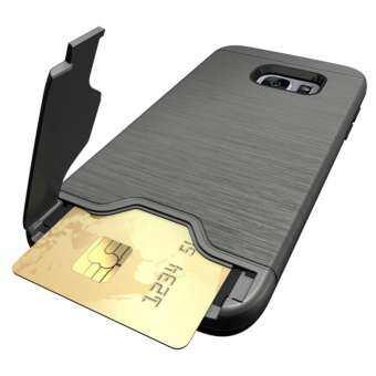 GuluGuru สำหรับ Samsung Galaxy S7 EDGE Case [การ์ดแปรง] PC + TPU HYBRID กลับเกราะ Cryptic ช่องใส่การ์ดความจำโทรศัพท์มือถือกรณี-