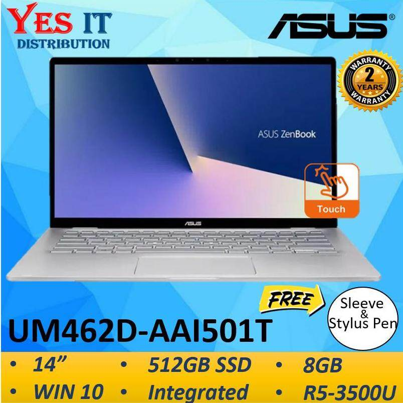 Asus Zenbook Flip 14 UM462D-AAI501T 14  FHD Touch Laptop Notebook Light Grey ( R5-3500U, 8GB, 512GB, Integrated, W10, 2YW) Malaysia