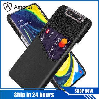 Trường Hợp AMORUS Dành Cho Samsung Galaxy A80 A90 Vỏ Điện Thoại Ốp Lưng Bằng Vải PC + PU + Có Khe Cắm Thẻ thumbnail
